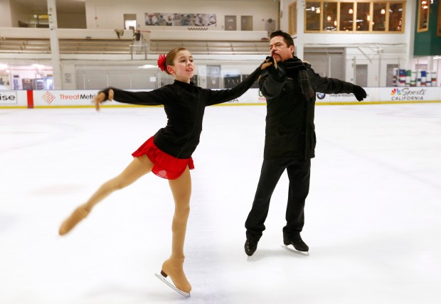 Ava Stephens, 13, works with her coach, Rudy Galindo, during a training session at Solar4America Ice in San Jose, California, on Thursday, Dec. 14, 2017. Stephens will be competing in the U.S. Figure Skating Championships in San Jose later this month.(Gary Reyes/ Bay Area News Group)
