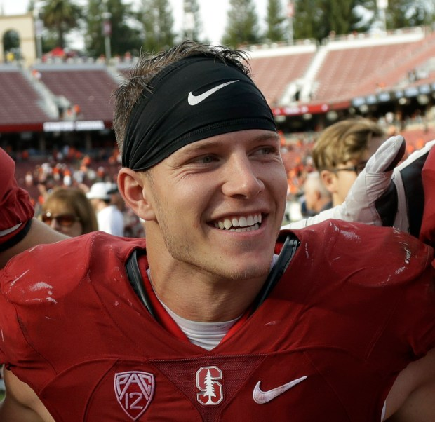 MCCAFFREY ENTERS NFL DRAFT--Stanford running back Christian McCaffrey (5) smiles after Stanford defeated Oregon State, 26-15, in an NCAA college football game, in Stanford, Calif. (AP Photo/Marcio Jose Sanchez, File)