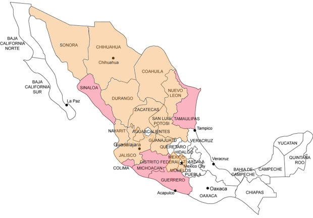 Map Mexico Travel Warnings 2013