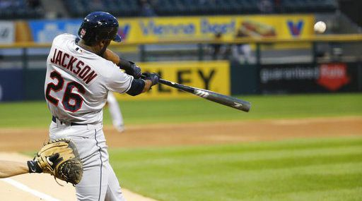 Cleveland Indians' Austin Jackson hits a home run off Chicago White Sox's David Holmberg during the first inning of a baseball game Tuesday, Sept. 5, 2017, in Chicago. (AP Photo/Charles Rex Arbogast)