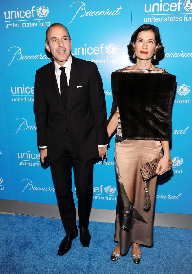 Television personality Matt Lauer and wife Annette Roque attend the 8th Annual UNICEF Snowflake Ball at Cipriani 42nd Street on Tuesday Nov. 27, 2012 in New York. (Photo by Evan Agostini/Invision/AP)