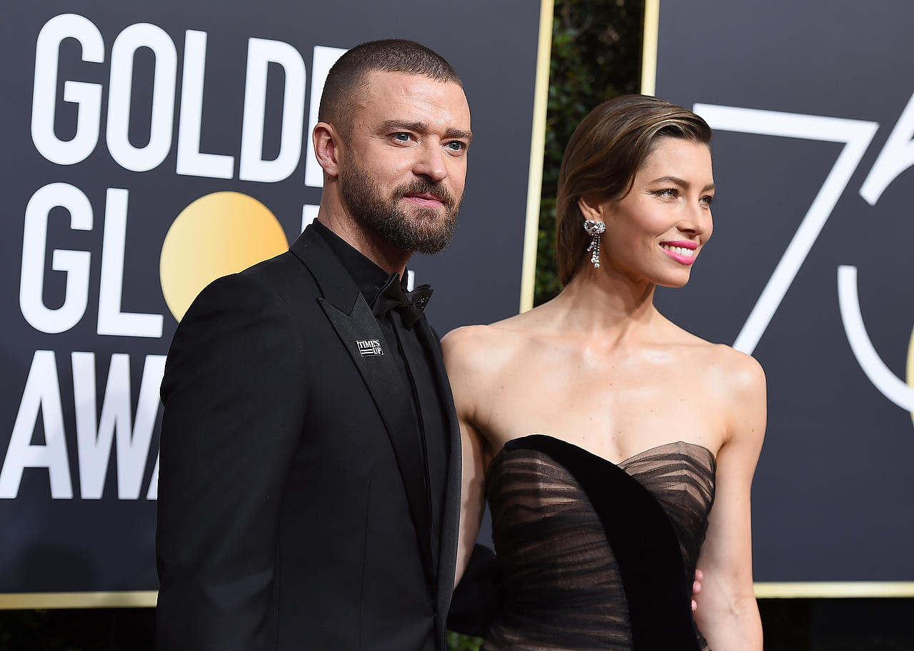 Justin Timberlake left and Jessica Biel arrive at the 75th annual Golden Globe Awards at the Beverly Hilton Hotel on Sunday Jan. 7 2018 in Beverly Hills Calif