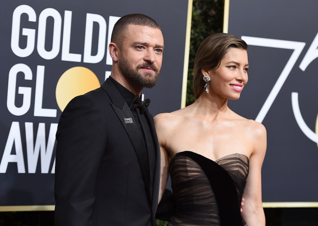 Justin Timberlake, left, and Jessica Biel arrive at the 75th annual Golden Globe Awards at the Beverly Hilton Hotel on Sunday, Jan. 7, 2018, in Beverly Hills, Calif. (Photo by Jordan Strauss/Invision/AP)