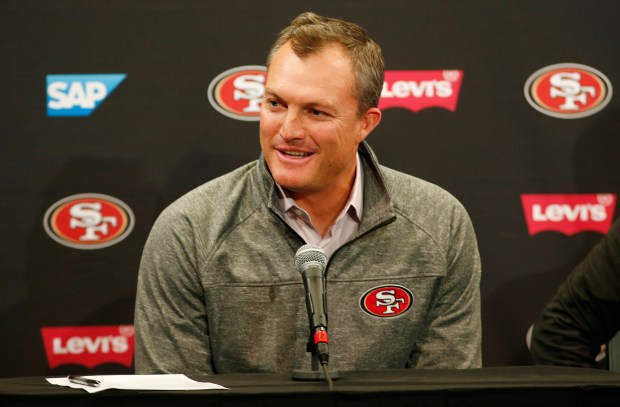 49ers GM John Lynch talked with local media Wednesday, a day before his podium session. (Gary Reyes/ Bay Area News Group)