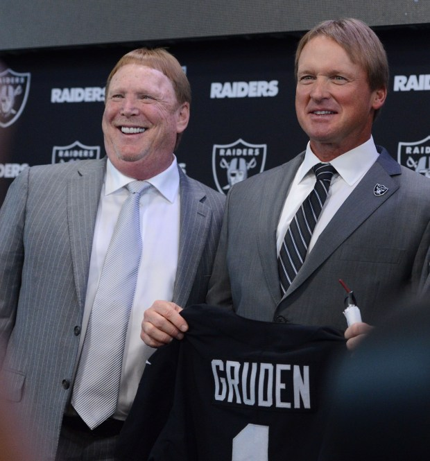 The Oakland Raiders' owner Mark Davis has his photo taken with new head coach Jon Gruden at the team facility in Alameda, Calif., on Tuesday, Jan. 9, 2018.(Dan Honda/Bay Area News Group)