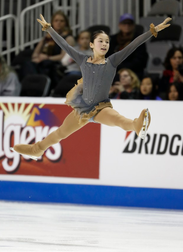 Alysa Liu skates in the Junior Ladies Free Skate for the 2018 US Figure Skating Championships at the SAP Center in San Jose, Calif., on Tuesday, January 2, 2018. (Nhat V. Meyer/Bay Area News Group)