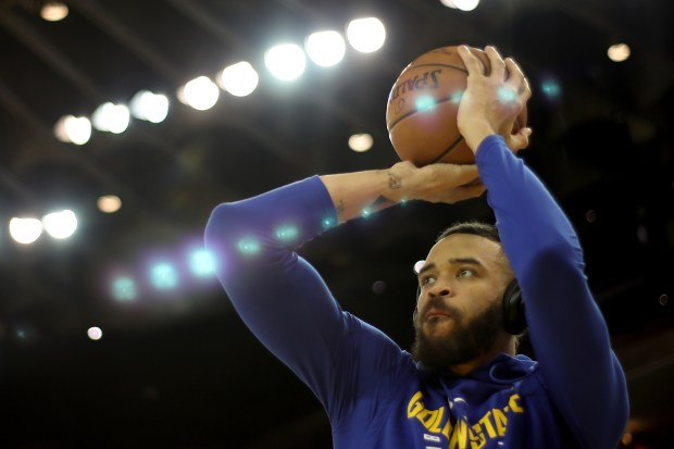 f5412f2b3 Golden State Warriors  JaVale McGee (1) warms up prior to the start of