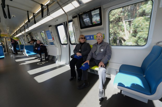 Harold and Maria Nagel, of Rodeo, ride on a new BART train from the MacArthur BART station in Oakland, Calif., on Friday, Jan. 19, 2018. BART officially launched their long awaited new trains with an official maiden ride. The new trains will gradually be put into service over the coming weeks. Harold and Maria are lifelong BART riders having used BART since it started in the 1970s. (Dan Honda/Bay Area News Group)