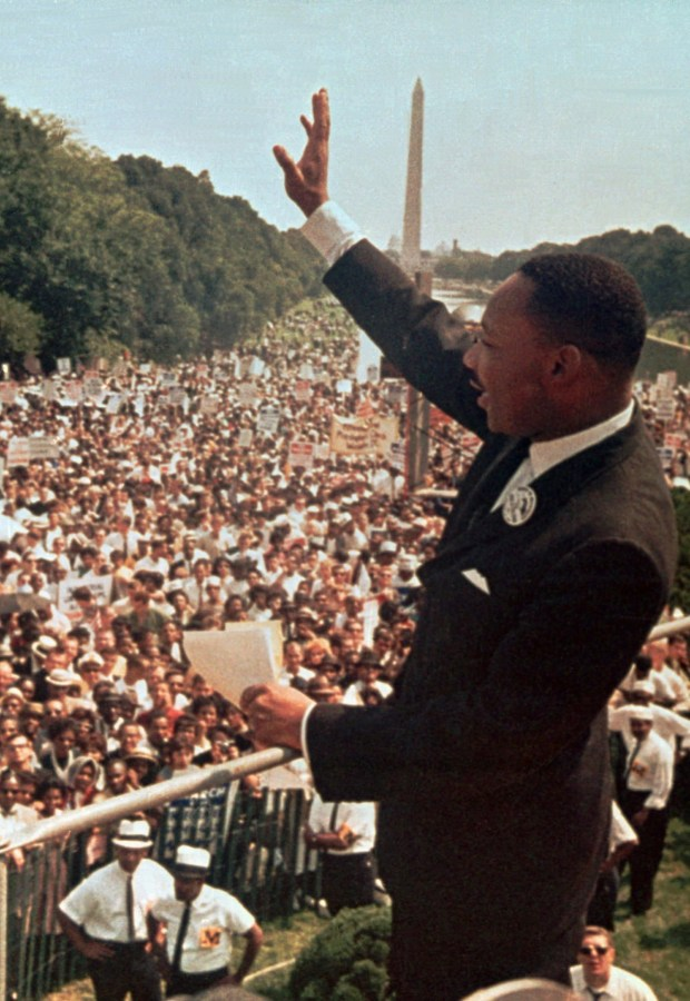 "** FILE ** In this Aug. 28, 1963, file photo the Rev. Martin Luther King Jr. acknowledges the crowd at the Lincoln Memorial for his ""I Have a Dream"" speech during the March on Washington, D.C. (AP Photo)"