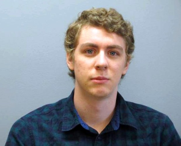 FILE - This Sept. 6, 2016 file photo provided by the Greene County Sheriff's Office shows former Stanford University swimmer Brock Turner at the sheriff's office in Xenia, Ohio, as he registered as a sex offender following his conviction on sexual assault charges in California. A woman sexually assaulted by Turner outside a campus fraternity party will no longer participate in the creation of a plaque after the university rejected her suggestions for a quote marking the place where she was attacked. (Greene County Sheriff's Office via AP, File)