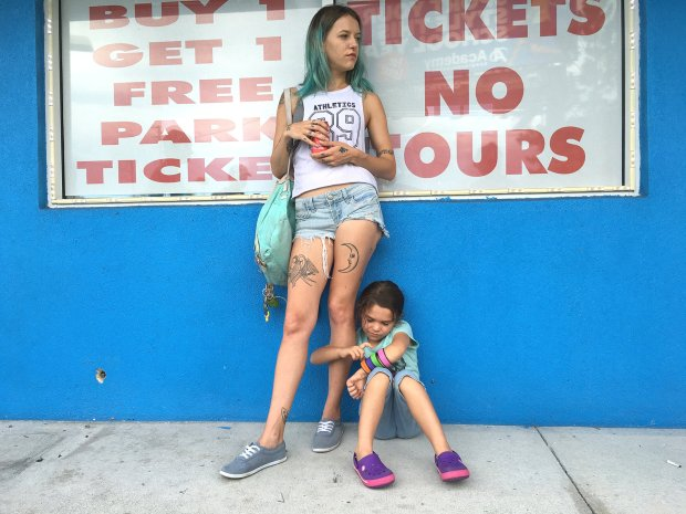"""In """"The Florida Project,"""" the precocious 6-year-old Moonee (Brooklynn Prince), right, lives with her mother, Halley (Bria Vinaite), in an extended-stay motel. (Marc Schmidt/A24 Films)"""