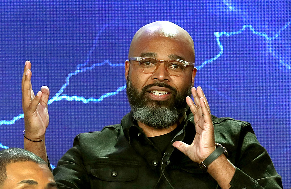 "PASADENA, CA - JANUARY 07: Executive Producer Salim Akil of the television show ""Black Lightning"" speaks on stage during the CW portion of the 2018 Winter Television Critics Association Press Tour at The Langham Huntington, Pasadena on January 7, 2018 in Pasadena, California. (Photo by Randy Shropshire/Getty Images)"