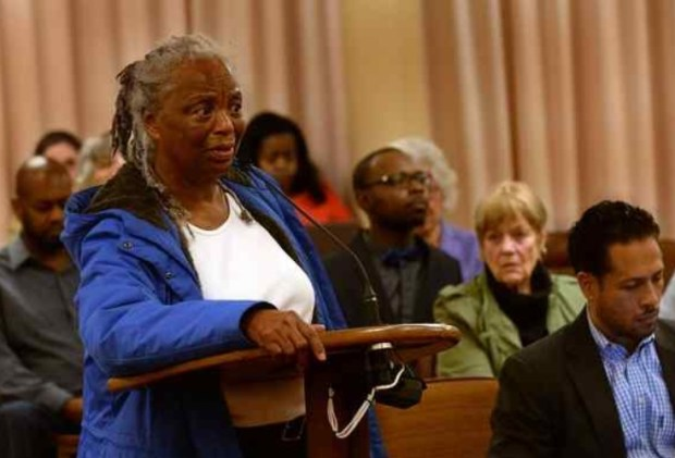 Royce McLemore addresses the Marin Housing Authority on Tuesday opposing the eviction of Annie Small. (Robert Tong — Marin Independent Journal)