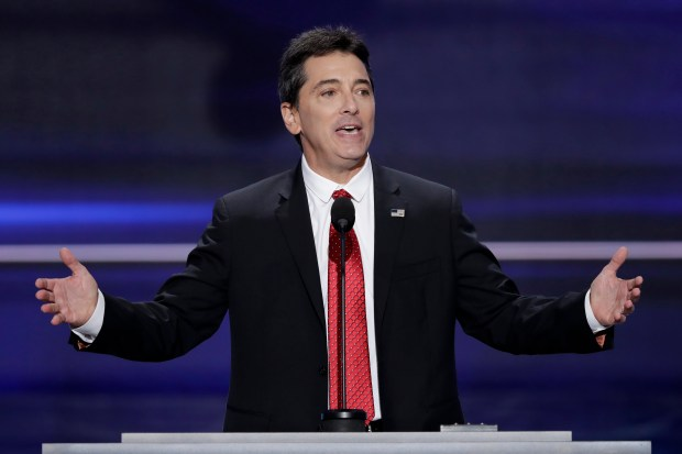 FILE - In a July 18, 2016 file photo, actor Scott Baio speaks during the opening day of the Republican National Convention in Cleveland. (AP Photo/J. Scott Applewhite, File)