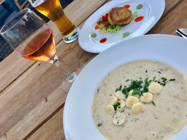 Hearty New England-style clam chowder makes a splendid dockside nosh atLake Chalet on the shores of Oakland's Lake Merritt. (Jackie Burrell/Bay Area News Group)