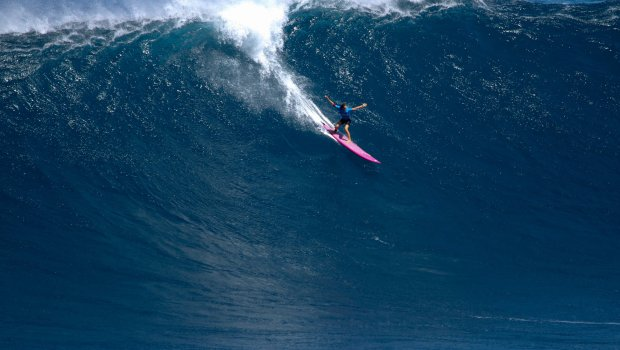 Bianca Valenti of San Francisco surfs in the WSL Big Wave Tour event inOctober at the famous Maui, Hawaii, break of Jaws. Valenti is one of six women invited to compete for the first time at the 2018 Mavericks Challenge held at California's famed big-wave break near Half Moon Bay. (Photo: @WSL / Lynton) Can use online. Can use in other DFM publications