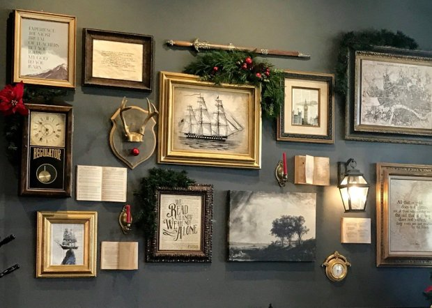 Framed paintings and etchings add to the British-library charm ofPleasanton's literary coffee and tea room, Inklings. (Jackie Burrell/Bay Area News Group)