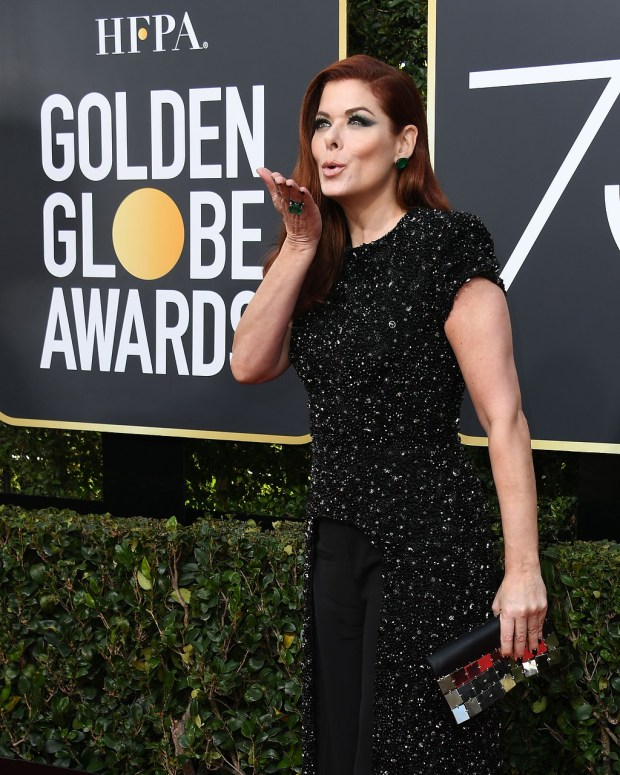 Actress Debra Messing arrives for the 75th Golden Globe Awards on January 7, 2018, in Beverly Hills, California. (VALERIE MACON/AFP/Getty Images)