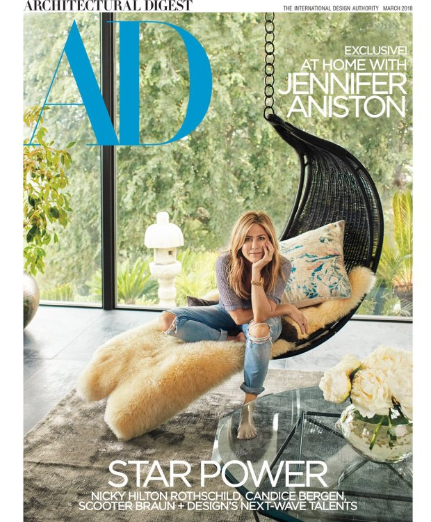 Jennifer Aniston Architectual Digest PhotosCredit: ArchDigest/Francois Dischinger (do NOT alter or change format!) NO CROPPING ALLOWED For use in the 2/26 feature ONLY (NOT for cover chip or TOC) For any questions or additonal use contact: erin_kaplan@condenast.com