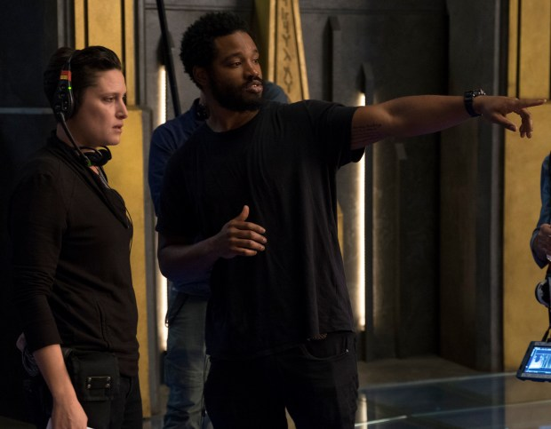 "Director Ryan Coogler, right, is on set with cinematographer Rachel Morrison during the filming of Marvel Studios' ""Black Panther."" (Matt Kennedy/Marvel Studios)"