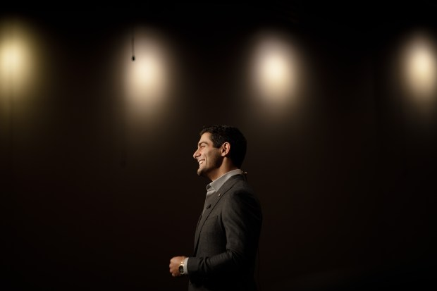 San Francisco 49ers quarterback Jimmy Garoppolo reacts during an interview after a press conference on Feb. 9, 2018 at Levi's Stadium in Santa Clara. (Dai Sugano/Bay Area News Group)