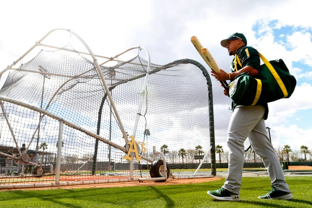 Oakland Athletics infielder Franklin Barreto walks off the field after batting practice at the Lew Wolff Training Complex on Monday, Feb. 19, 2018, in Mesa, Ariz. (Aric Crabb/Bay Area News Group)