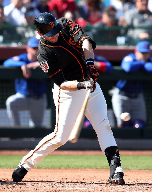 San Francisco Giants batter Evan Longoria is photographed during their game against the Chicago Cubs at Scottsdale Stadium on Feb. 25, 2018, in Scottsdale, Ariz. (Aric Crabb/Bay Area News Group)