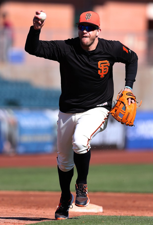 San Francisco Giants infielder Evan Longoria takes part in a drill before their game against the Chicago Cubs at Scottsdale Stadium on Feb. 25, 2018, in Scottsdale, Ariz. (Aric Crabb/Bay Area News Group)