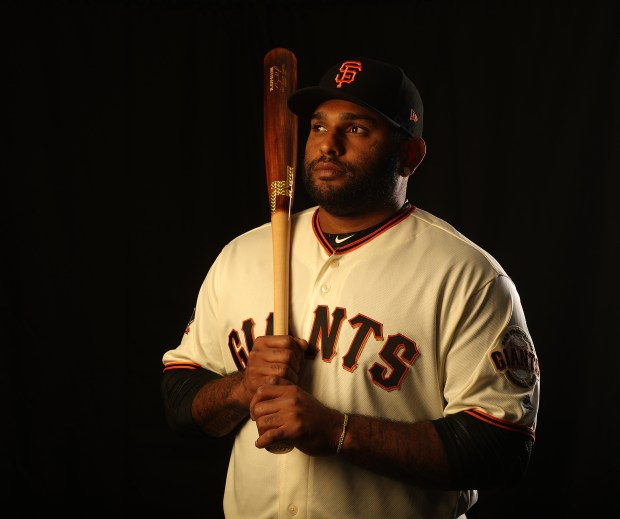 San Francisco Giants infielder Pablo Sandoval is photographed at Scottsdale Stadium on Feb. 20, 2018, in Scottsdale, Ariz. (Aric Crabb/Bay Area News Group)