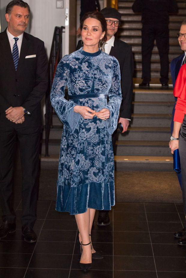 STOCKHOLM, SWEDEN - JANUARY 31: Catherine, Duchess of Cambridge during a reception to celebrate Swedish culture at the Fotografiska Gallery on day two of their royal visit to Sweden and Norway on January 31, 2018 in Stockholm, Sweden. (Photo by Dominic Lipinski - Pool/Getty Images)