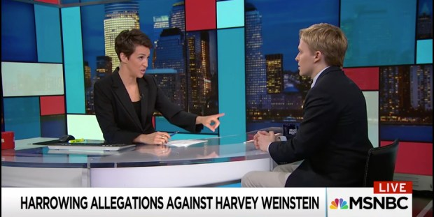 MSNBC's Rachel Maddow interviews Ronan Farrow on Oct. 10, 2017 about his New Yorker report on Harvey Weinstein. (Screen capture/'The Rachel Maddow Show)