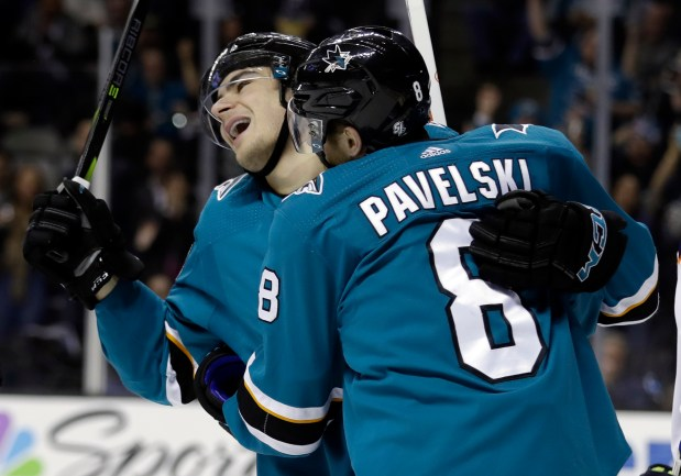 San Jose Sharks' Timo Meier, left, celebrates his goal with teammate Joe Pavelski (8) during the second period of an NHL hockey game against the Edmonton Oilers on Tuesday, Feb. 27, 2018, in San Jose, Calif. (AP Photo/Marcio Jose Sanchez)