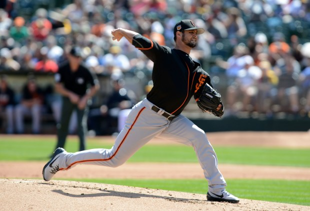 The San Francisco Giants' Tyler Beede (32) pitches against the Oakland Athletics in the first inning of their final spring training game at the Oakland Coliseum in Oakland, Calif., on Saturday, April 1, 2017. (Dan Honda/Bay Area News Group)