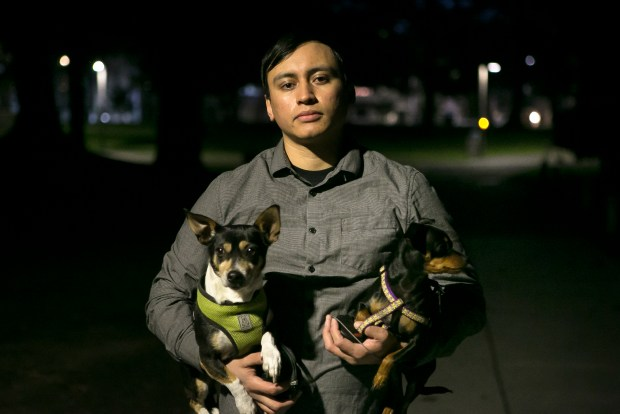 Fernando Hernandez, 28, poses for a portrait with his dogs Ellie, right and Chewy, left, in Santa Clara Central Park where he walks them, in Santa Clara, California, on Thursday, February 22, 2018. (LiPo Ching/Bay Area News Group)