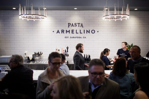 Guests spend an evening at a new restaurant, Pasta Armellino, during the grand opening night of the restaurant on Feb. 1, 2018 in Saratoga. (Dai Sugano/Bay Area News Group)