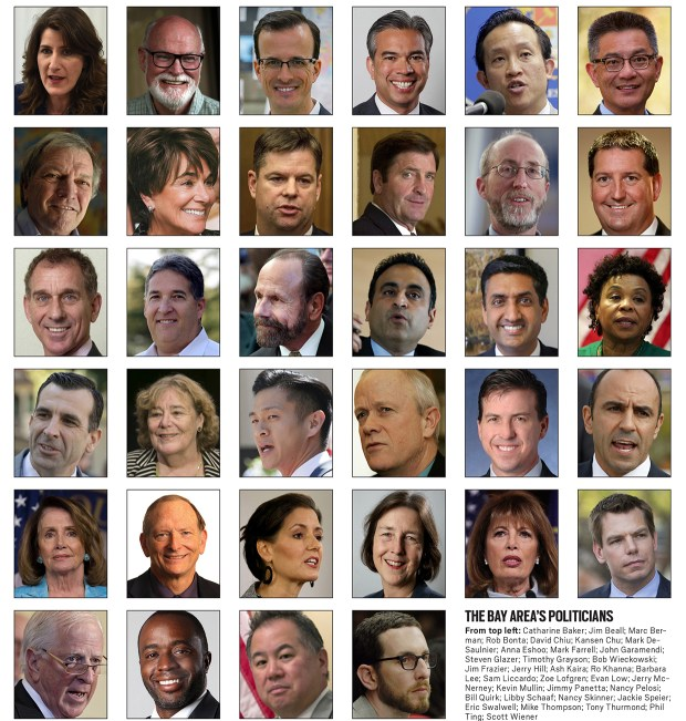 The Bay Area's politicians, from top left: Catharine Baker; Jim Beall; Mark Berman; Rob Bonta; David Chiu, Kansen Chu; Mark DeSaulnier; Anna Eshoo; Mark Farrell; John Garamendi; Steven Glazer; Timothy Grayson; Bob Wieckowski; Jim Frazier; Jerry Hill; Ash Kaira; Ro Khanna; Barbara Lee; Sam Liccardo; Zoe Lofgren; Evan Low; Jerry McNerney; Kevin Mullin; Jimmy Panetta; Nancy Pelosi; Bill Quirk; Libby Schaaf; Nancy Skinner; Jackie Speier, Eric Swalwell; Mike Thompson; Tony Thurmond; Phil Ting; Scott Wiener (Staff and Wire archive photos)