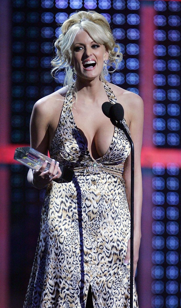 Adult film actress Stormy Daniels accepts an award during the 25th annual Adult Video News Awards Show at the Mandalay Bay Events Center January 12, 2008 in Las Vegas, Nevada. (Photo by Ethan Miller/Getty Images)