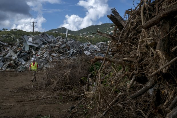 Piles of debris are seen in St. Thomas, U. S. Virgin Islands, on January22, 2018. MUST CREDIT: Washington Post photo by Bonnie Jo Mount
