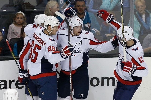 SAN JOSE, CA - MARCH 10: Nicklas Backstrom (second from right) #19 of the Washington Capitals celebrates with teammates after scoring a goal against the San Jose Sharks at SAP Center on March 10, 2018 in San Jose, California. (Photo by Lachlan Cunningham/Getty Images)