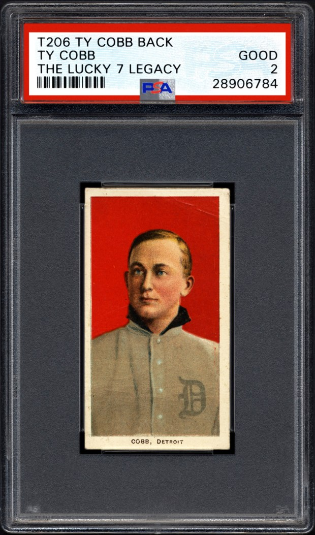 The front of a Ty Cobb baseball card circa 1911. (Professional Sports Authenticator via AP)