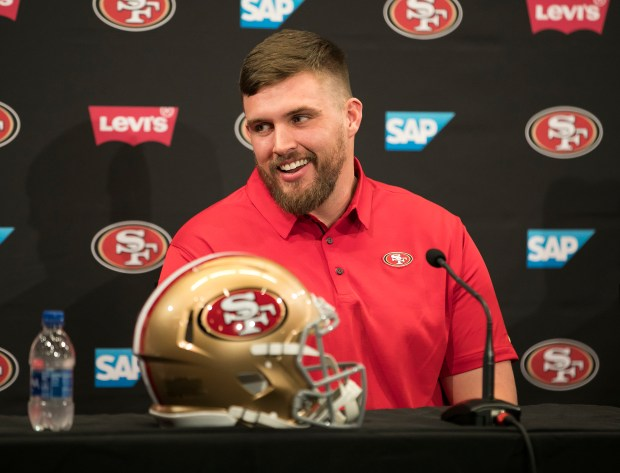 New San Francisco 49ers offensive lineman Weston Richburg speaks at a press conference after being introduced by General Manager John Lynch and Head Coach Kyle Shanahan at Levi's Stadium in Santa Clara, California, on Thursday, March 15, 2018. (LiPo Ching/Bay Area News Group)