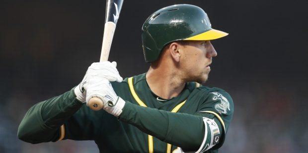 Oakland Athletics' Stephen Piscotty (25) at-bat against the San Francisco Giants in the fourth inning at AT&T Park in San Francisco, Calif., on Tuesday, March 27, 2018. (Nhat V. Meyer/Bay Area News Group)