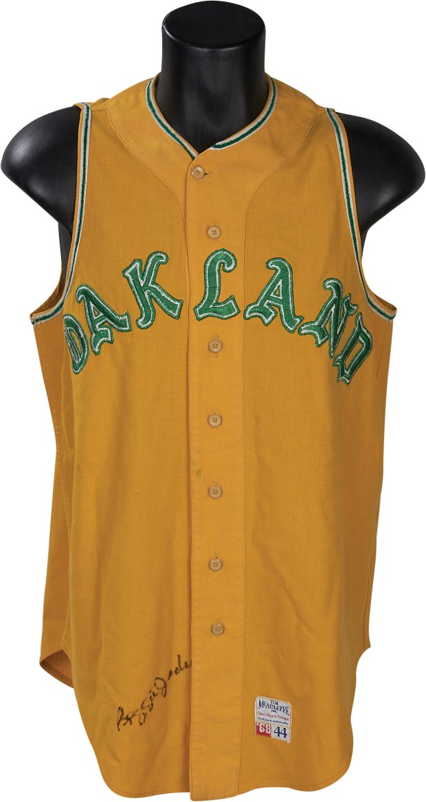 This autographed Reggie Jackson jersey, which he wore during the A's firstseason in Oakland, is up for auction, along with items from Babe Ruth, Mickey Mantle and Michael Jordan. (Courtesy: Lelands.com)
