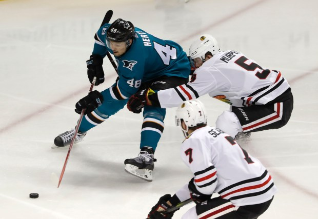 San Jose Sharks' Tomas Hertl (48) controls the puck against Chicago Blackhawks' Connor Murphy (5) in the second period at the SAP Center in San Jose, Calif., on Thursday, March 1, 2018. (Nhat V. Meyer/Bay Area News Group)