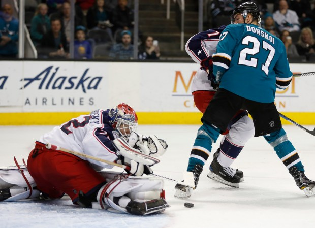Columbus Blue Jackets goaltender Sergei Bobrovsky (72) blocks a shot in front of San Jose Sharks' Joonas Donskoi (27) in the third period at the SAP Center in San Jose, Calif., on Sunday, March 4, 2018. (Nhat V. Meyer/Bay Area News Group)