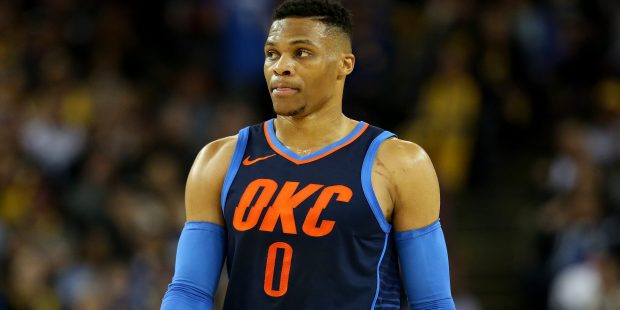 Oklahoma City Thunder's Russell Westbrook (0) walks down court during their NBA game against the Golden State Warriors at the Oracle Arena in Oakland, Calif., on Saturday, Feb. 24, 2018. (Jane Tyska/Bay Area News Group)
