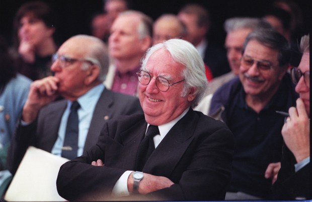 Architect Richard Meier & Partners, In this file photo, famed architect Richard Meier is seen at a meeting in San Jose to approve his plans for what wold become the 18-story City Hall.