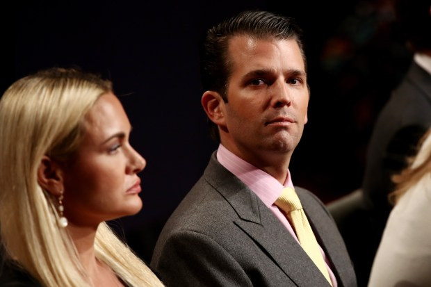 Donald Trump Jr. and Vanessa Trump wait for the start of the third U.S. presidential debate at the Thomas & Mack Center on October 19, 2016 in Las Vegas, Nevada (Photo by Win McNamee/Getty Images)