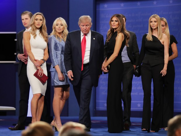 LAS VEGAS, NV - OCTOBER 19: Republican presidential nominee Donald Trump (C) walks off stage as (L-R) Eric Trump, Lara Yunaska, Vanessa Trump, Melania Trump, businessman Jared Kushner, Ivanka Trump, Vanessa Trump look on after the third U.S. presidential debate at the Thomas & Mack Center on October 19, 2016 in Las Vegas, Nevada. Tonight is the final debate ahead of Election Day on November 8. (Photo by Chip Somodevilla/Getty Images)