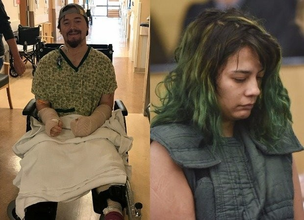 Alex Lovell (left) recovers in a hospital after being attacked with a samurai sword. His girlfriend Emily Javier (right) faces attempted murder charges. (Courtesy of Alex Lovell / Associated Press)